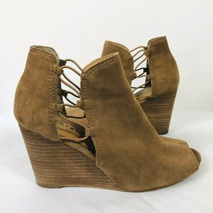 Lucky Brand Brown Suede Cutout Wedge Sandals